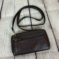 Buxton Crossbody Wallet Purse Clutch Brown Leather Phone Checkbook NEW