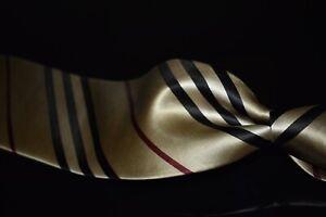 #1 MENSWEAR Burberry Italy Gloss Satin Classic Trench Tan Nova Stripe Silk Tie