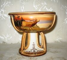 RARE Nippon Jeweled and Hand Painted Compote, with Stag and Doe Nature Scene
