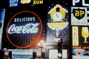 35mm Kodachrome Slide, Piccadilly Circus Neon Advertising Signs At Night, 1960s