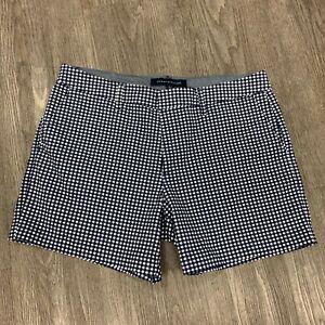 Tommy Hilfiger Gingham Plaid Shorts Women's Size 8 Blue Belt Loops Flat Front