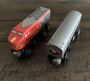 Lionel Heritage Series Santa Fe 2 Piece Wooden Train Set Engine & Passenger Car