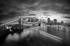 New York Bridge Black And White Landscape Wall Art Large Poster & Canvas Picture