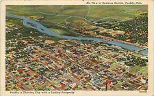 Linen Postcard CO H682 Cancel 1944 Birds Eye View Pueblo Colorado Curteich