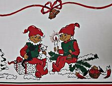"VINTAGE AUTHENTIC CHRISTMAS ART LAPLAND WHITE RED COTTON 54"" x 114"" TABLECLOTH"