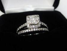 Princess Diamond Halo Engagement Ring Wedding Band Bridal Set 14k White Gold