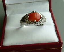 14K WHITE GOLD CABOCHON CORAL AND DIAMOND RING