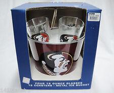 Florida State FSU Seminoles Metal Ice Bucket and 4 Logo Glasses Beverage Set New