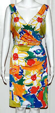 New $134 Ralph Lauren Tropical Print Summer spring Dress 10 faux wrap