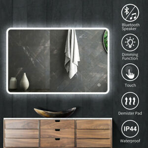 Bathroom LED Mirror Wall Lights with Bluetooth Anti-Fog Touch Switch Demister