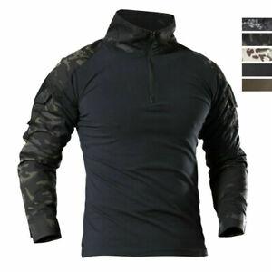 Mens Airsoft Tactical T-Shirt Army Military Combat Zip Shirt Casual Camo Shirt