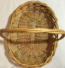 Large Vintage Wicker Twisted Handle Basket Herb Flower Gathering Woven Rattan