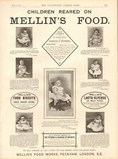 1893 ANTIQUE PRINT - ADVERT- MELLIN'S FOOD, CHILDREN REARED ON