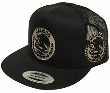 JALISCO MEXICO 2 LOGOS HAT LOGO FEDERAL BLACK MESH TRUCKER  SNAP BACK FLAT BUILD