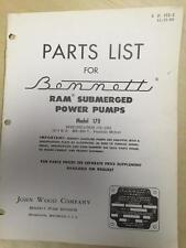 Bennett Parts Catalog Manual ~ Model 170 RAM Submerged Power Pumps Spec 170-1001