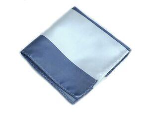 Umberto Algodon Napoli Men's Slate White Bar Stripe Woven Pocket Square