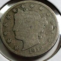 1912-D LIBERTY NICKEL SCARCE BETTER DATE COIN