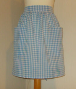 New 'Light Blue Gingham ' Vintage Style Half / Waist Apron/Pinny