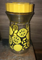 "Vintage Glass Lemonade Carafe Lemon Jug Juice Pitcher with Yellow Plastic Lid 8"""