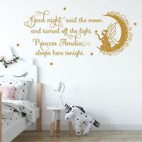 Personalised Name Wall Decal Vinyl Sticker Fairy Princess Girl Bedroom Nursery
