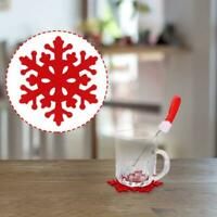 4Pcs/set Red Christmas Snowflake Coasters Xmas Holiday Coasters