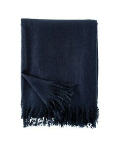"DKNY 50"" x 70"" Throw Blanket Mohair Acrylic MARINE BLUE J96027"
