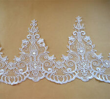 Costume Embroidered Lace Edging Ribbon Off White Floral Corded Wedding Dress DIY