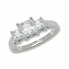 Zirconia Ring, Size N (7213) * Sterling Silver Princess Triple Stone Cubic