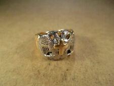 Vtg 14K Gold & Palladium Double Eagles Cross Ring, Wear/Scrap, Size 8.5, 13.3g