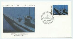 WW2 COMMEMORATIVE  F.D.C. - USS REUBEN JAMES SUNK OCTOBER 31, 1941