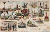 AK Gruss von den Schlachtfeldern bei Wörth. Litho ca. 1900: Postkarte