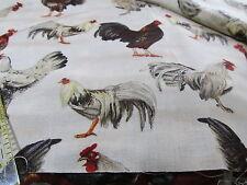 Kaufman chicken cotton fabric soft white ground BTHY half yard cut ROOSTER