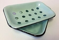 Vintage-Inspired 2 Piece Enamelware Metal Soap Sponge Scrubby Holder Drainer