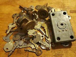 ANTIQUE/VINTAGE FLAT KEYS Post Office Lock -KEY LOT Steel Brass - Russwin Corbin