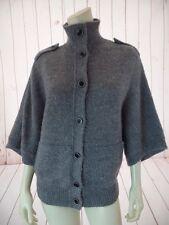 Banana Republic Sweater S Gray Heather Alpaca Wool Blend Button Front Fuzzy Chic