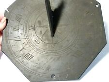 Rare 19thC Engraved Franks Optician Leeds Signed Slate Garden Sundial 9.5""