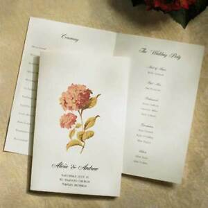 Ivory Hydrangea Printable Wedding Programs 50/pk