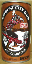 SAWDUST CITY DAYS 1980 BEER cs CAN with LUMBERJACK, Walter Brewery, WISCONSIN 1+