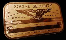 Metal Social Security ID Brass Card Eagle As Registered with The U.S. Government