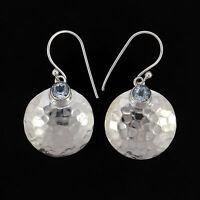 Blue Topaz Gemstone Drop Dangle Earring Set Handmade 925 Sterling Silver Jewelry