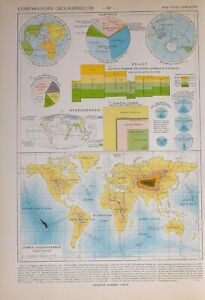 1913 MAP WORLD GEOGRAPHICAL EQUIDISTANCE ZONES LAND WATER SURFACES