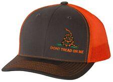 Don't Tread On Me Gadsden Flag Neon Orange Grey Snapback Trucker Hat Cap OSFM