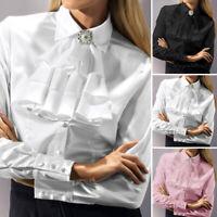 ZANZEA Womens Retro OL Slim Shirt Victorian Long Sleeve Ruffle Trim Tops Blouse