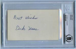 DUKE MAAS d. 1976 signed BECKETT BAS Slabbed autograph 1961 NY Yankees RARE
