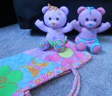 "DOODLE BEARS 17"" girl & boy? plush Bears with rare blanket carry all"