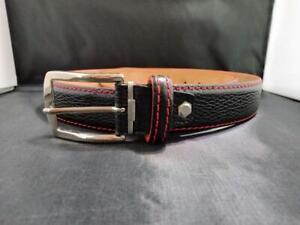 ROGER XIMENEZ Black Leather Belt Red Stitching Italian Calf US Made EUC 38?