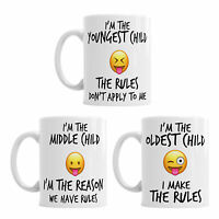Youngest Middle Oldest Child Sister Brother Siblings Rules Emoji Coffee Mug Gift