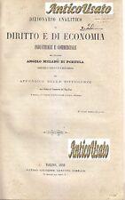 DIZIONARIO DIRITTO ECONOMIA INDUSTRIALE COMMERCIALE Melano Portula 1859 Cerutti