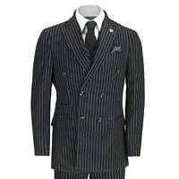 Mens 3 Piece Black Pinstripe Suit Double Breasted 1920s Blinders Peak Lapel