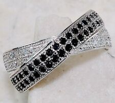 SALE 2CT Black Sapphire & White Topaz 925 Sterling Silver Ring Jewelry Sz 6